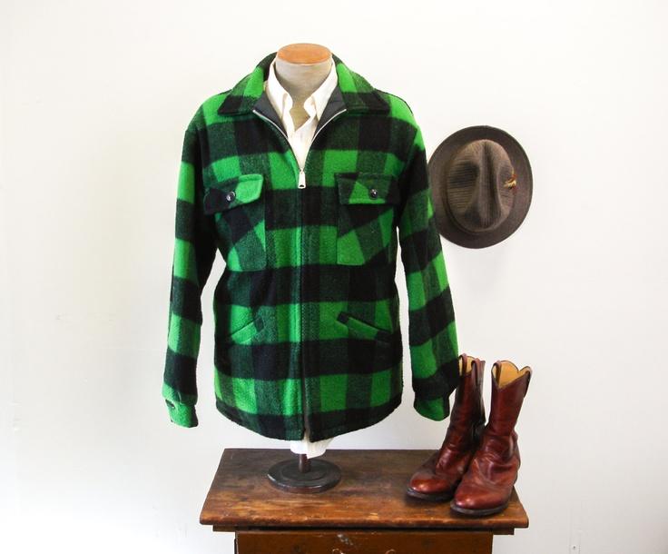 60s-70s Green Plaid Hunting Jacket Green & Black Plaid ...