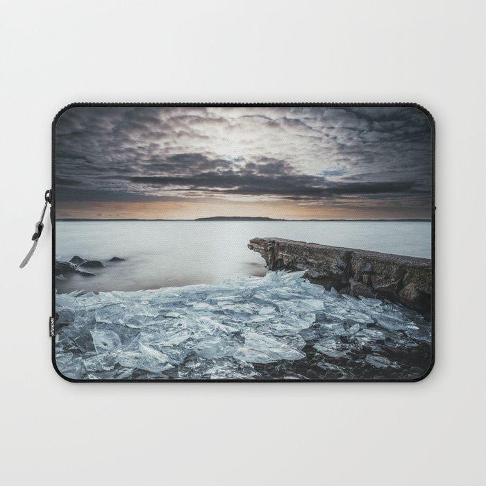 Frozen broken hearts Laptop Sleeve by HappyMelvin  #nature #wanderlust #winter #ice #homedecor #laptopsleeves