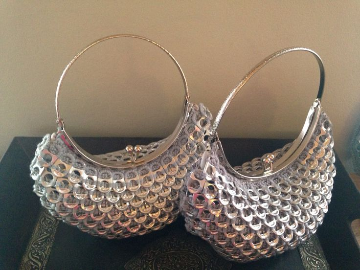 Two crocheted silver mermaid purses, made from soda tabs