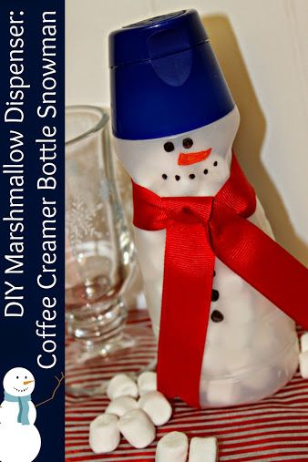 DIY Marshmallow Dispenser: Coffee Creamer Bottle Snowman