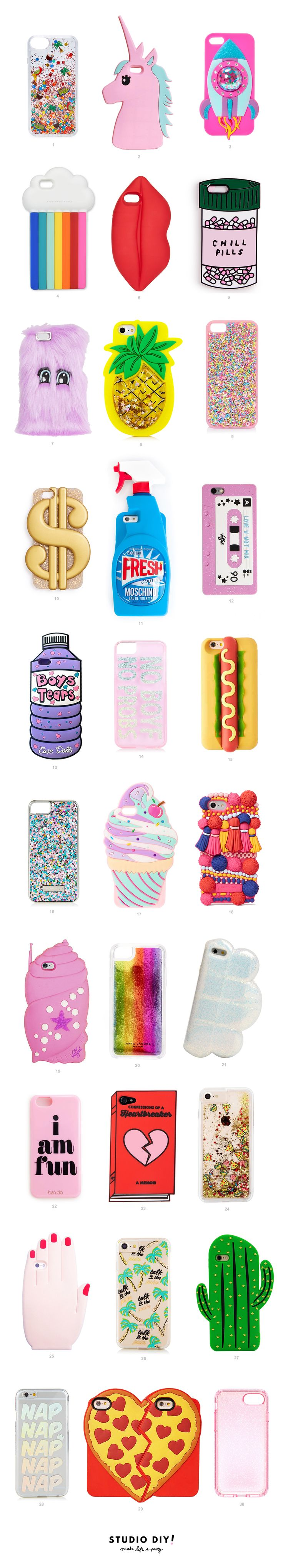 Sometimes I wish I had every size phone, so I could buy every ridiculously amazing phone case I come across. There are SO. MANY. good ones out there, from sparkly glitter ones to ridiculous shapes that I can't get enough of. Rounded up 30 (yes, 30, how's a girl to choose!?) of my faves today…