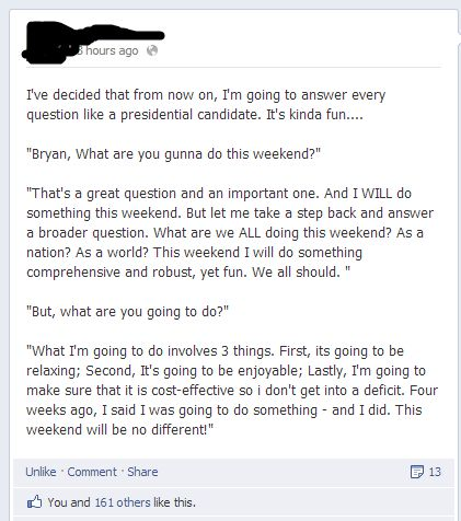 Answering questions like a politician.