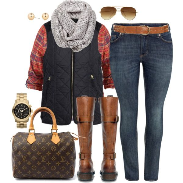 skinny jeans brown boots vest flannel and scarf<3 without the purse