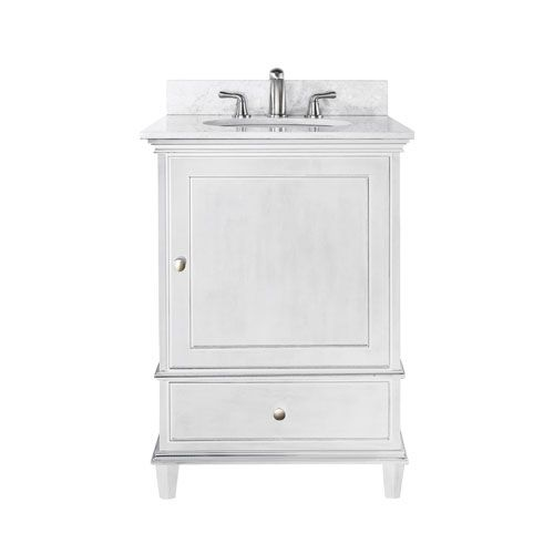 Avanity Windsor 24 Inch White Vanity With Carrera White Marble Top And Undermount Sink Marble