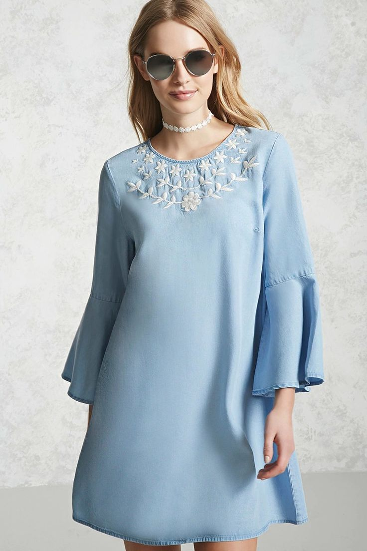 Forever 21 Contemporary - A chambray denim dress featuring a round neck with a single button back closure, 3/4 length ruffle sleeves, and a contrasting embroidered bib detail.