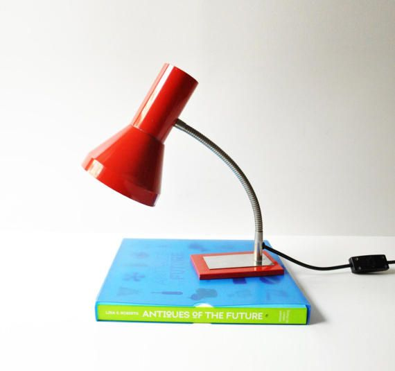 Vintage red gooseneck desk lamp, with very simple and elegant design, that spreads the light beautifully.  Overall in good vintage condition.  Dimensions: 32 cm / 12.5 tall, base dimensions 12 cm / 4.7 X 8 cm / 3.15  The lamp has a european plug but if you wish we can include an american plug adaptor, just let us know! The listing includes one light bulb.  - - - - - - - - - - - - - - - - - - - - - - - - - - - - - - - - - - - - - - - - - - - - - - - - - - - - - - - -  Please tak...