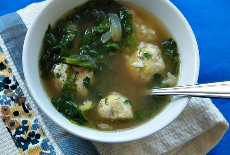Escarole and Chicken Meatball Soup.