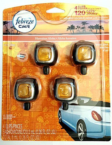 Febreze Hawaiian Aloha Car Vent Clip Air Freshener, 0.06 oz, 4 Pack - Febreze CAR Vent Clips sends odors packing and adds a welcome note of freshness to your vehicle. These car air fresheners eliminate odors and replace them with a refreshing scent. In just a short time, you and your passengers can all breathe happy. It's so easy to control. The virtually mess-free...