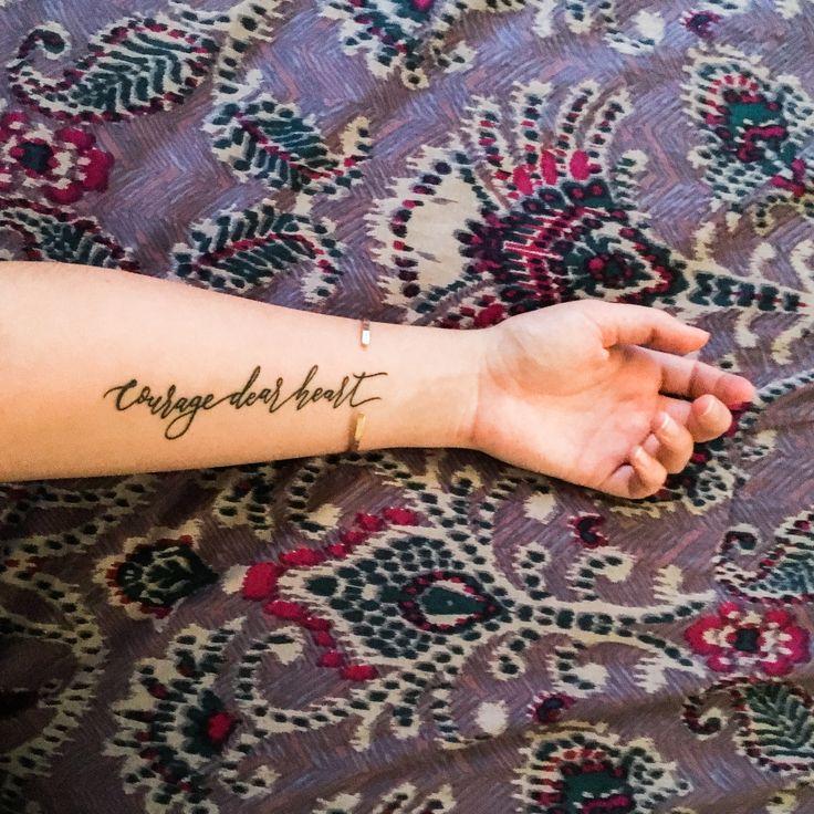 Courage Dear Heart Tattoo C.S. Lewis Forearm Tattoo Calligraphy Tattoo