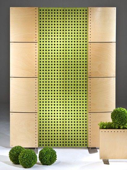 Cloison acoustique en bois vert qui donne un effet - Cloison coulissante acoustique ...