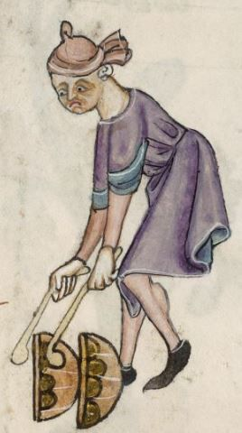Detail from The Luttrell Psalter, British Library Add MS 42130 (medieval manuscript,1325-1340), f59r: