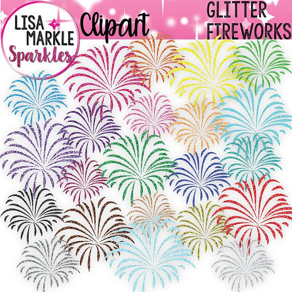 Rainbow Clipart Glitter Clipart Fireworks Clipart 4th of