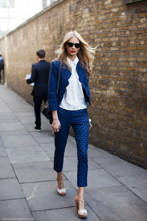 blue pants; white, collared, button-down blouse; blue, scallop jacket; nude heels; smart look