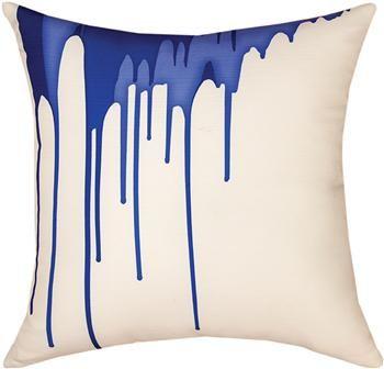 "SLSBDR 18"" x 18"" Shades of Blue Drips Pillow                                                        contemporary"