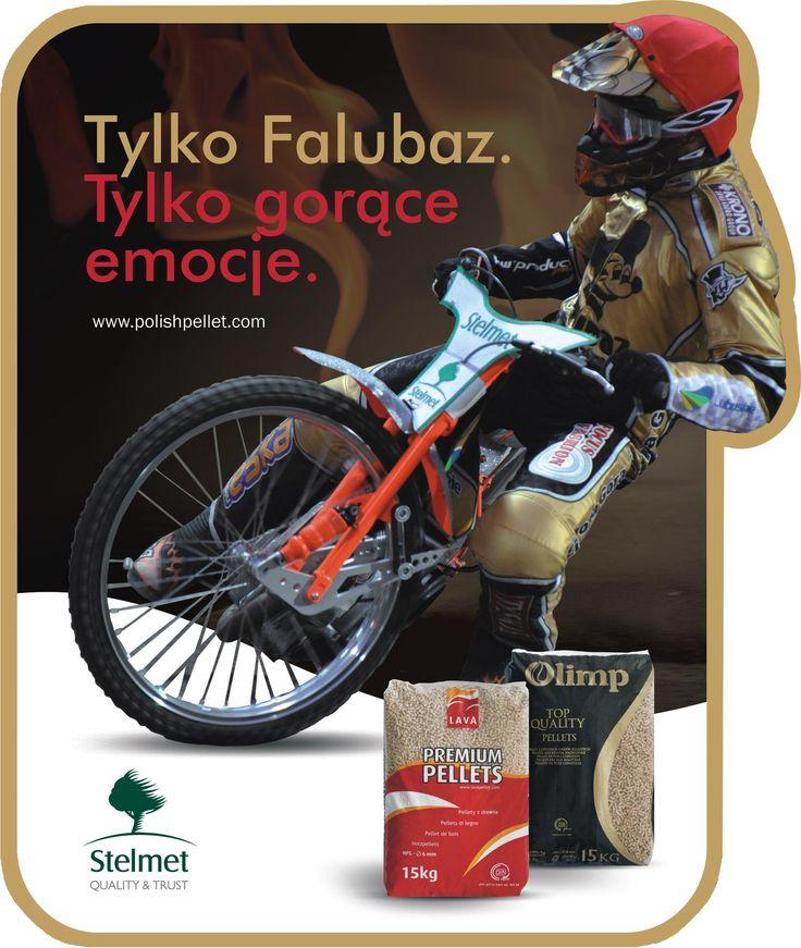 Materiały reklamowe Stelmet Pellet Lava/Olimp wspierające wizerunkowo zielonogórską drużynę żużlową Falubaz