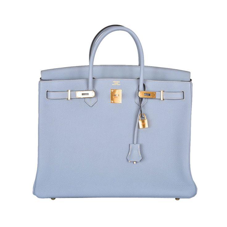 HERMES BIRKIN BAG BLUE LIN 40cm WITH GOLD HARDWARE NEW COLOR   1stdibs.com My favorite color! www.socialiteauctions.com