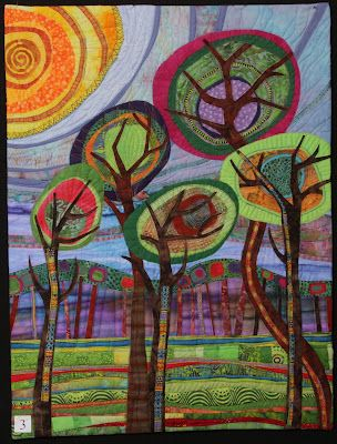 Jundertwasser Wonderland' by Sheila Walwyn. These whimsical trees brought an involuntary smile to my face.