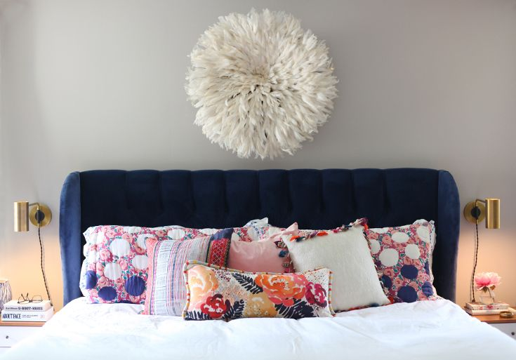 Blogger Home Tour /// House Of Hipsters /// Master Bedroom with a Mid Century Modern and Bohemian style and look. Click thru to read more.
