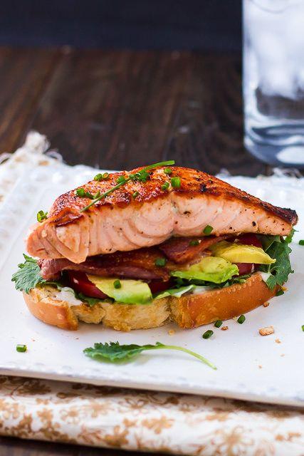 Open Faced Salmon Avocado BLT Sandwiches