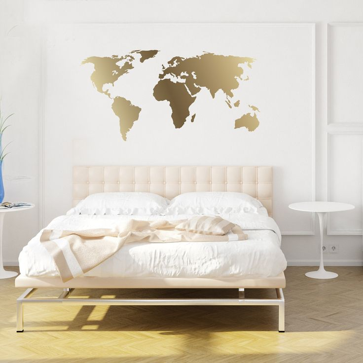 World Map Decal- Gold Kiss Cut World Decal by Chromantics by Chromantics on Etsy. Our World Map Decal  is an excellent addition to any room, office or dorm, or nursery. These Kiss Cut Decals can be applied to almost any flat, smooth interior surface. They adhere to Walls, mirrors, windows, they even work great in Some Craft projects. This kit consists of One Large World Map, all cut out on Gold Vinyl.