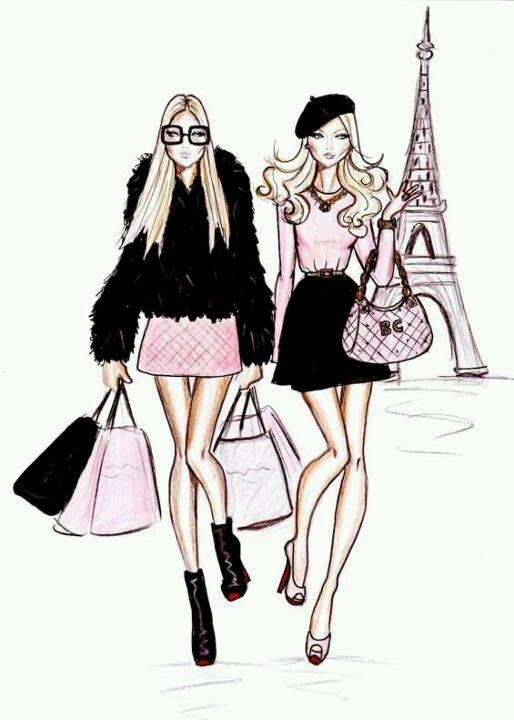 Cute eiffel tower and girls - Parisienne illustration