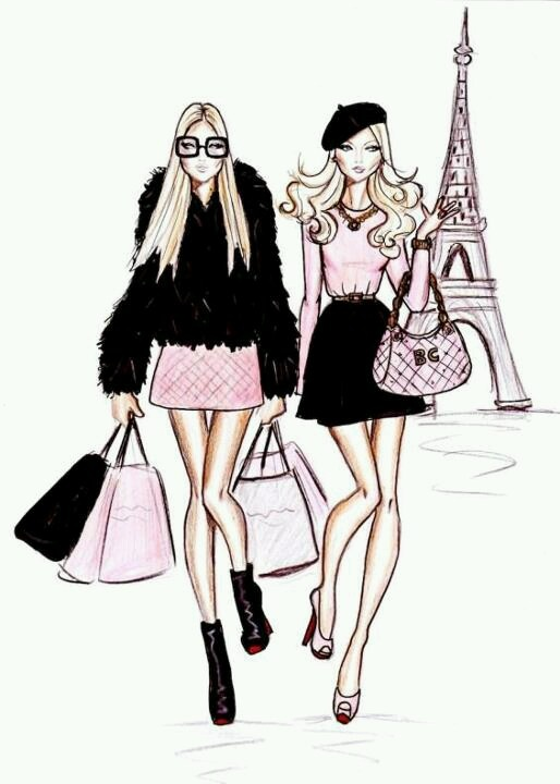 Cute eiffel tower and girls - Parisienne illustration ...