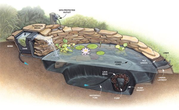 Diy pond construction home projects for Homemade pond ideas