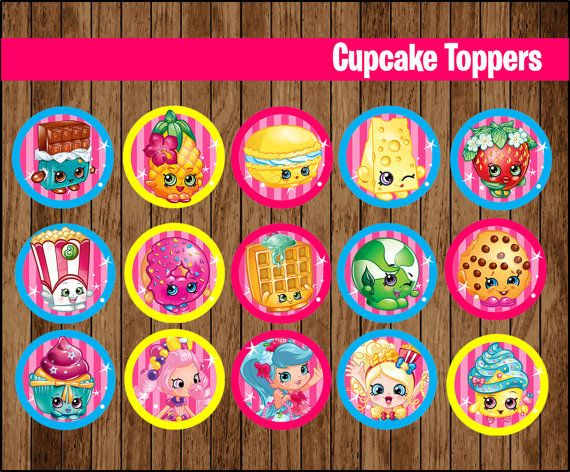 80% OFF SALE  Shopkins Cupcakes Toppers instant by youparty