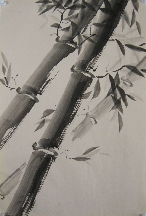 Sumi-E Painting, Black Ink on Paper, 2007 by Karla Hargrave, via Behance