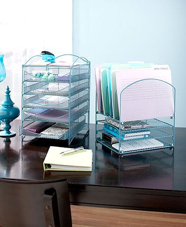 Add some order to a chaotic workspace with the Desktop File Organizer. This organizer has a stylish mesh design that fits perfectly into any office space. This is a great way to stay organized for students, teachers and parents! #backtoschool