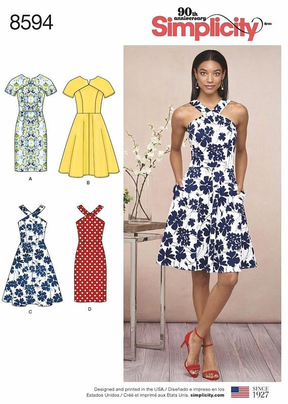 Sewing Pattern Flared Dress Pattern Petite Dress Pattern Sundress Interesting Sundress Patterns Simplicity