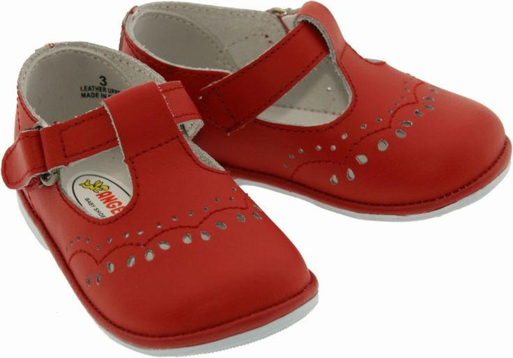 Angel Shoes Infant Girls 2945 Red Leather T-Strap Mary Janes — Babychelle