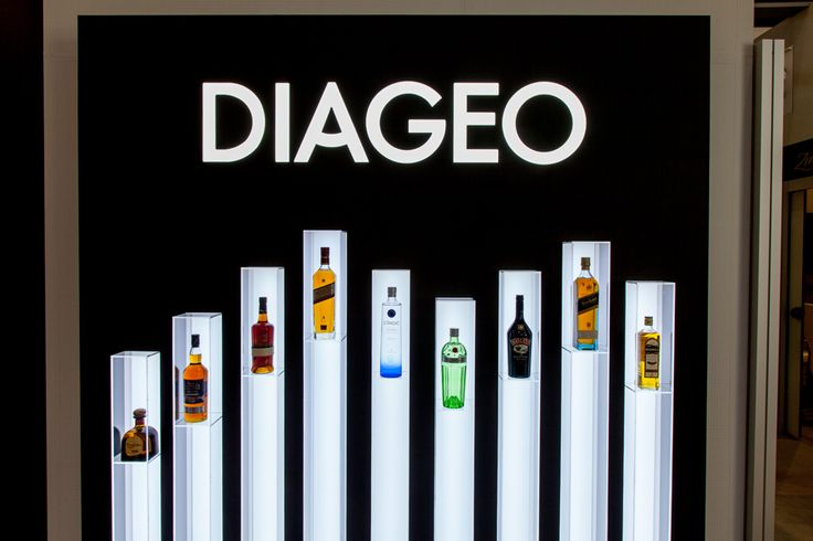 Closeup of floating bottle display, Diageo stand, Duty-Free Show of the Americas 2014, Orlando, FL.