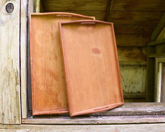 2 Vintage Wood Trays Serving Beverage Platter Set of Two