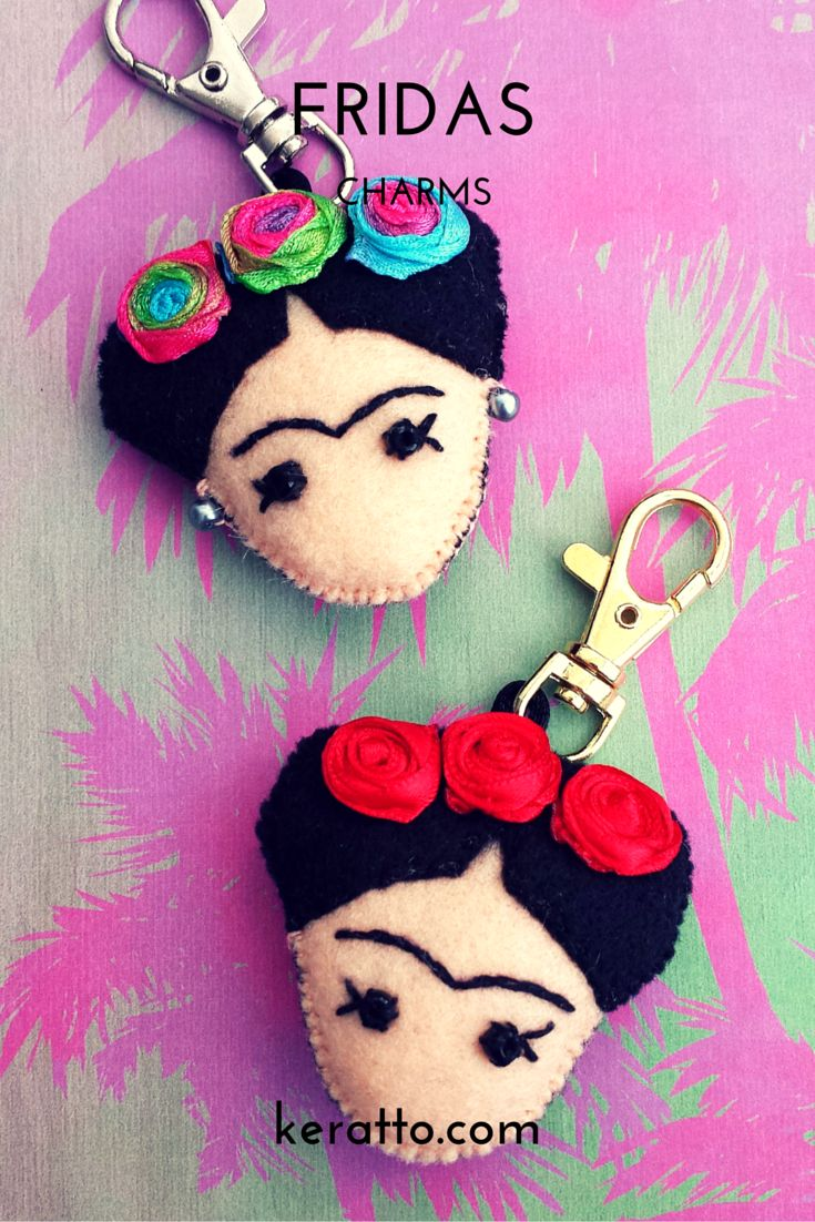 Handbag charm, Frida doll with flowers in rainbow colors and red. Handmade in…