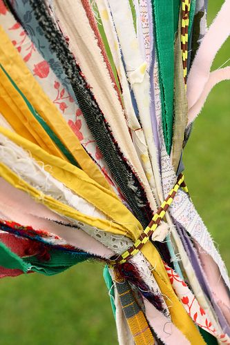 Long Strips of Torn Fabric >> Looks so lovely together!