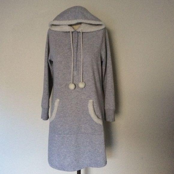 Women's Gray Faux Fur Hoodie Cozy faux fur hoodie with front pocket. Sonoma Intimates & Sleepwear Pajamas
