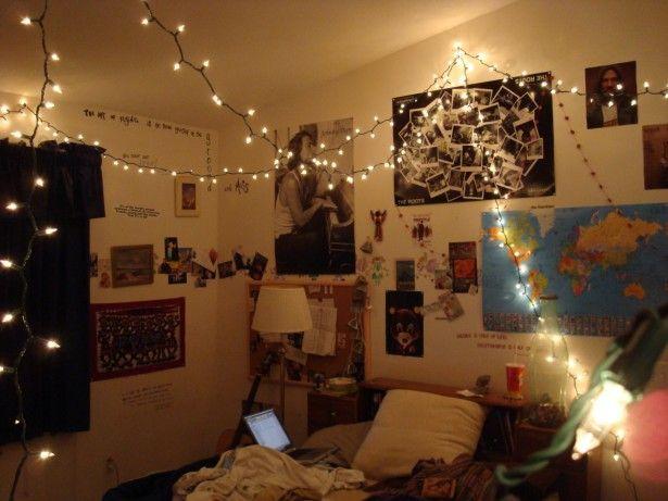 bedroom vintage hipster bedroom decorating ideas white hanging led string lights beige solid wood bookcase