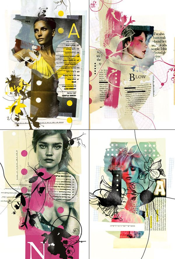 16 - Love this mix of paint with photos and what appear to be magazine pages! Create a layout inspired by these collages. - 1pt. More