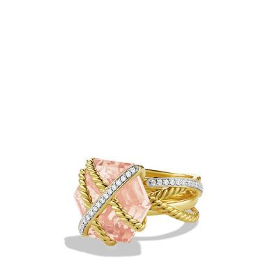 Cable Wrap Ring with Diamonds