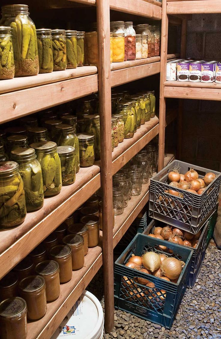 root cellar organization Used to have one exactly like this---mice got in -----have to clean and redo this!