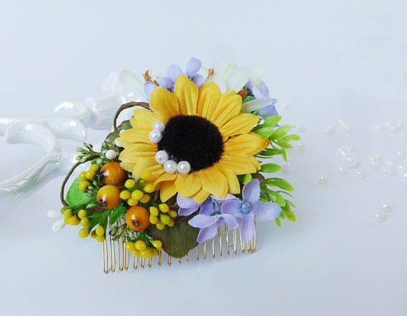 Bridal hair comb Sunflower floral crown Wedding hair halo Summer wedding crown Bridal halo crown Wedding hair comb Bridesmaid floral comb