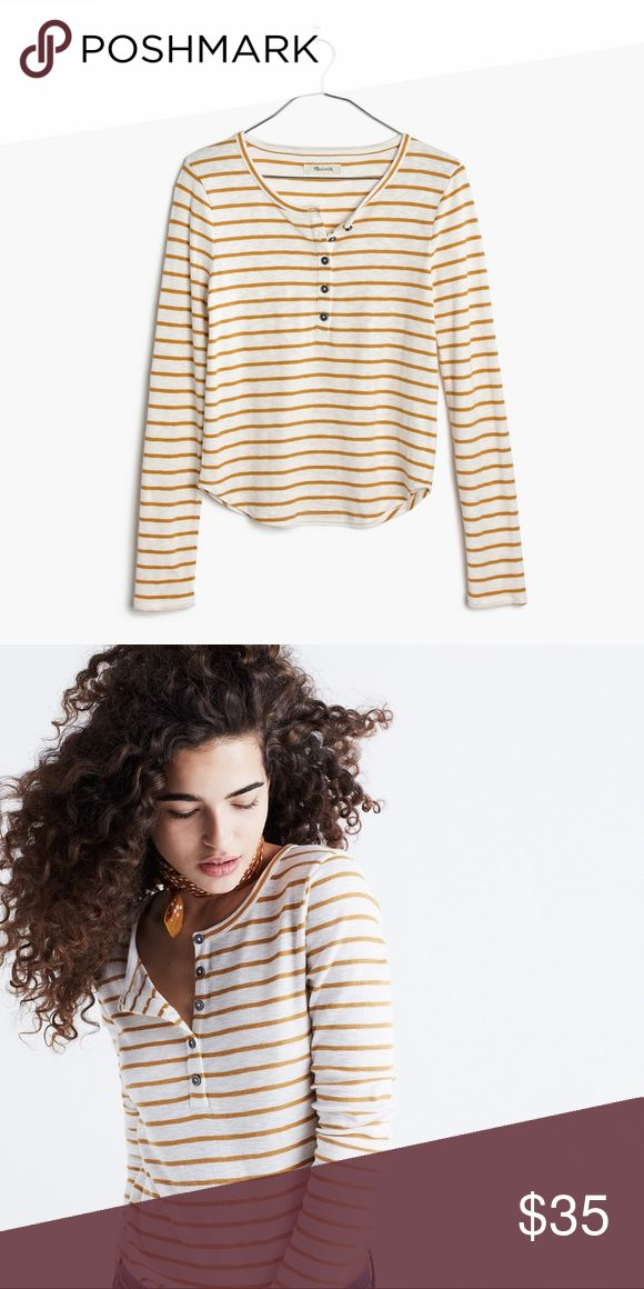 NWT Madewell Sound Ribbed Striped Henley Tee Brand new, with tags. Mustard yellow and white striped - Vivian Stripe. A slim-fitting henley tee in supersoft textural rib. A throw-it-on-and-go fave to wear with overalls or high-rise anything. Cotton/modal, rayon/spandex. Madewell Tops Tees - Long Sleeve