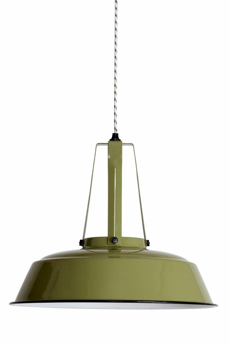 HK-living hanglamp industrieel groot olijfgroen