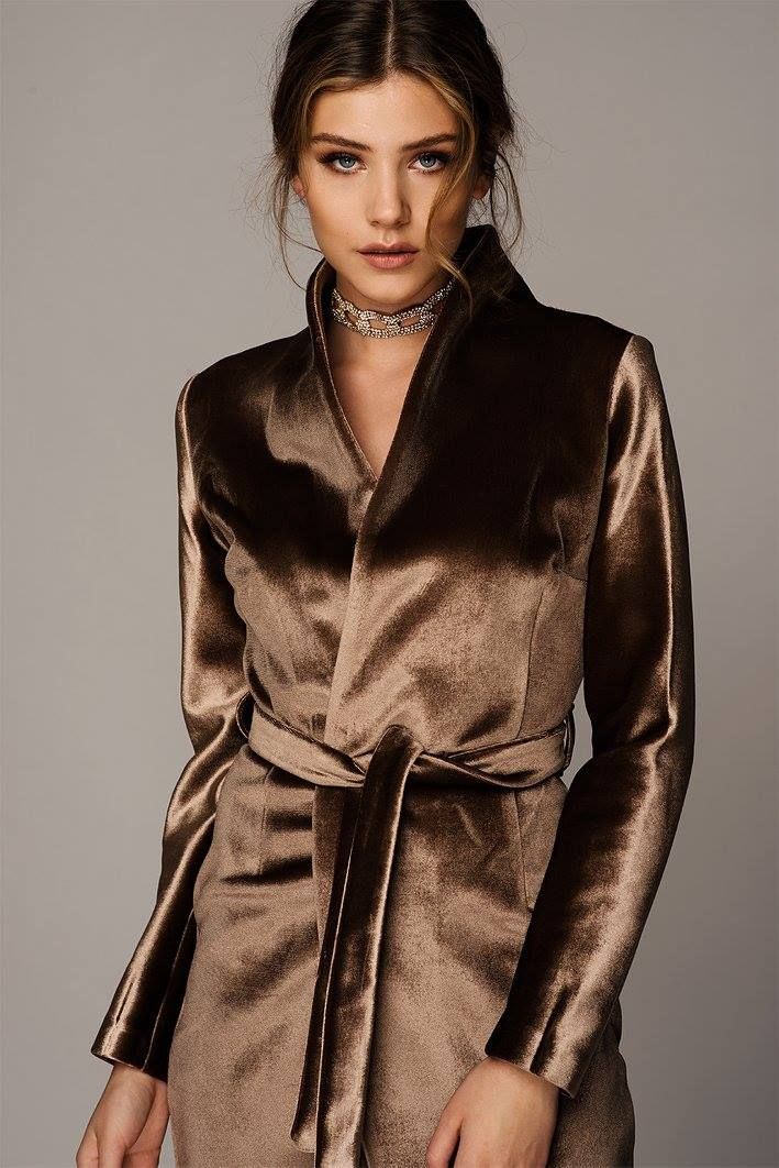GOLDEN BROWN VELVET TRENCH DRESS