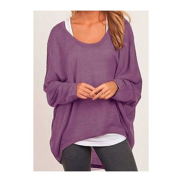 Scoop Neck Knitting Wool Purple Pullover Sweater ($18) ❤ liked on Polyvore featuring tops, sweaters, purple, long sleeve pullover, purple pullover, wool knit sweater, collared sweater and sweater pullover