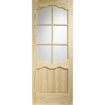 Image of Riviera 6 Pane Clear Pine Door - Clear Safety Glass