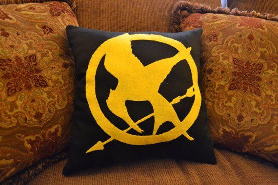 The Hunger Games Mockingjay Pin Pillow by amillionlittlestars, $20.00