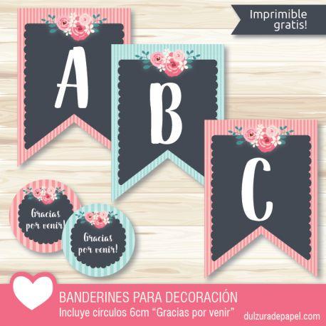 Banderines para imprimir gratis Rosa y menta ideal para decoración de fiesta, incluye círculos 6cm Gracias por venir