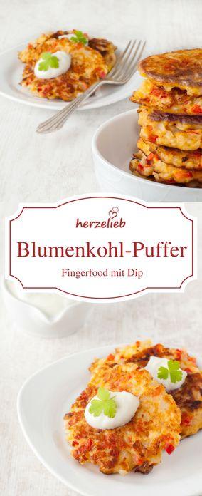 Food - Rezept Blumenkohl - Blumenkohlpuffer sind tolles Fingerfood. Dazu gibt es einen Dip! Wer es nachmachen möchte schaut auf meinem Foodblog herzelieb